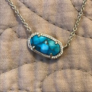 Elisa Pendant Necklace Bronze Veined Turquoise